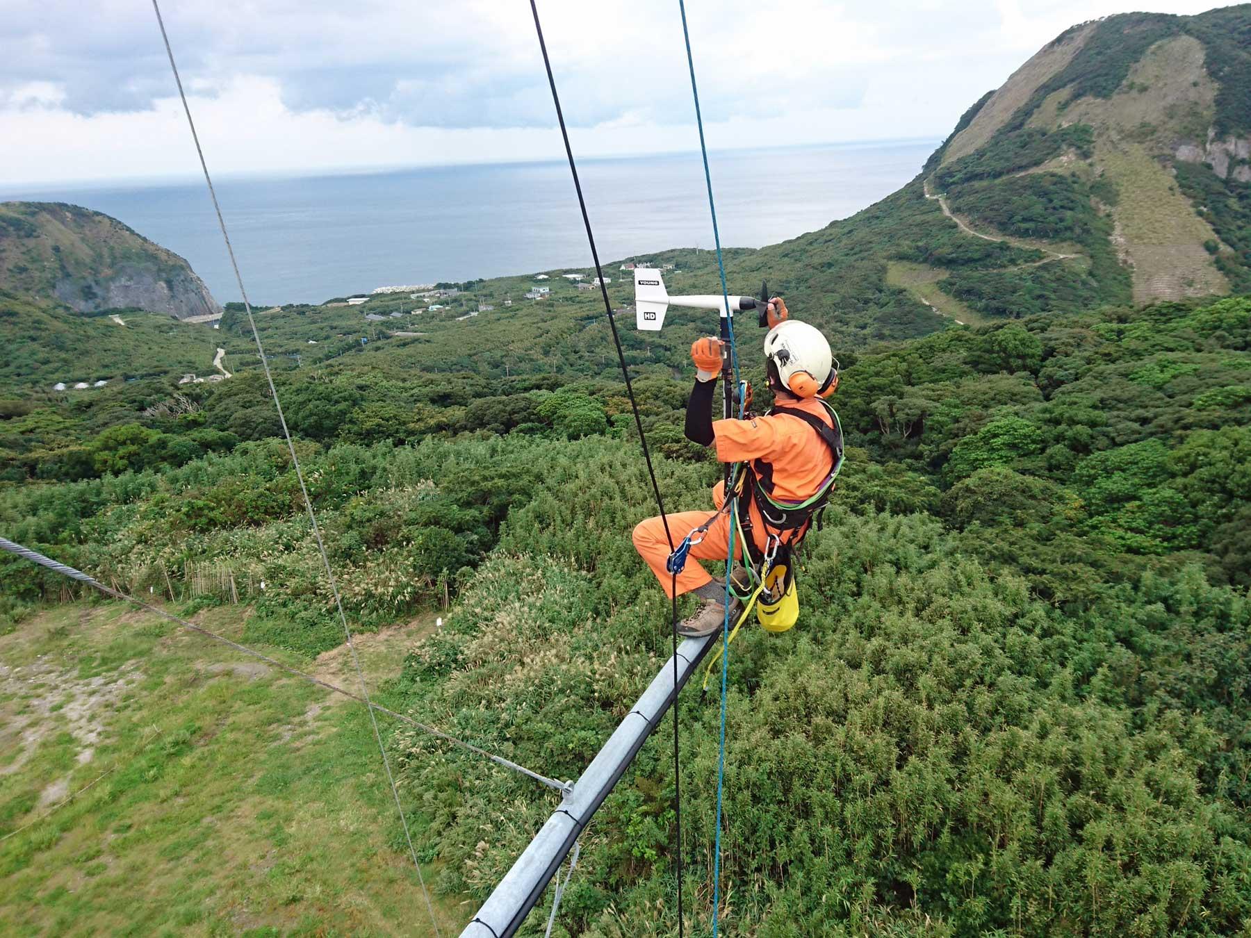 風況観測タワーの器機交換・メンテナンス