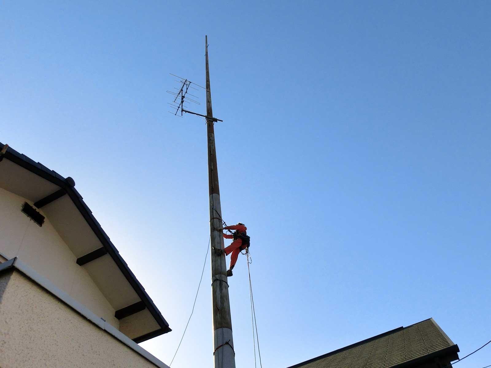 岡山県岡山市のパンザマスト撤去工事