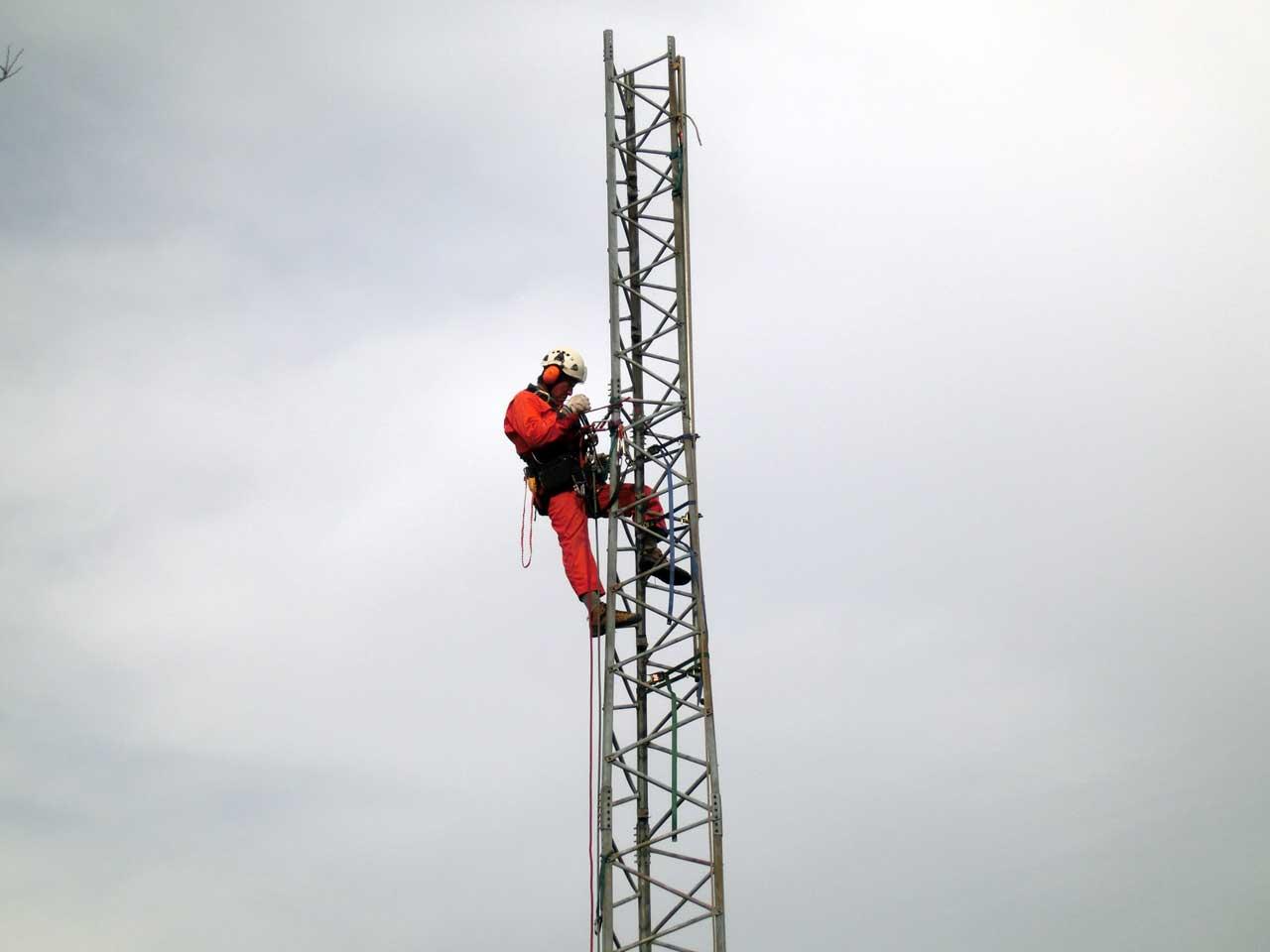 栃木県小山市でのクリエートタワーの短縮工事