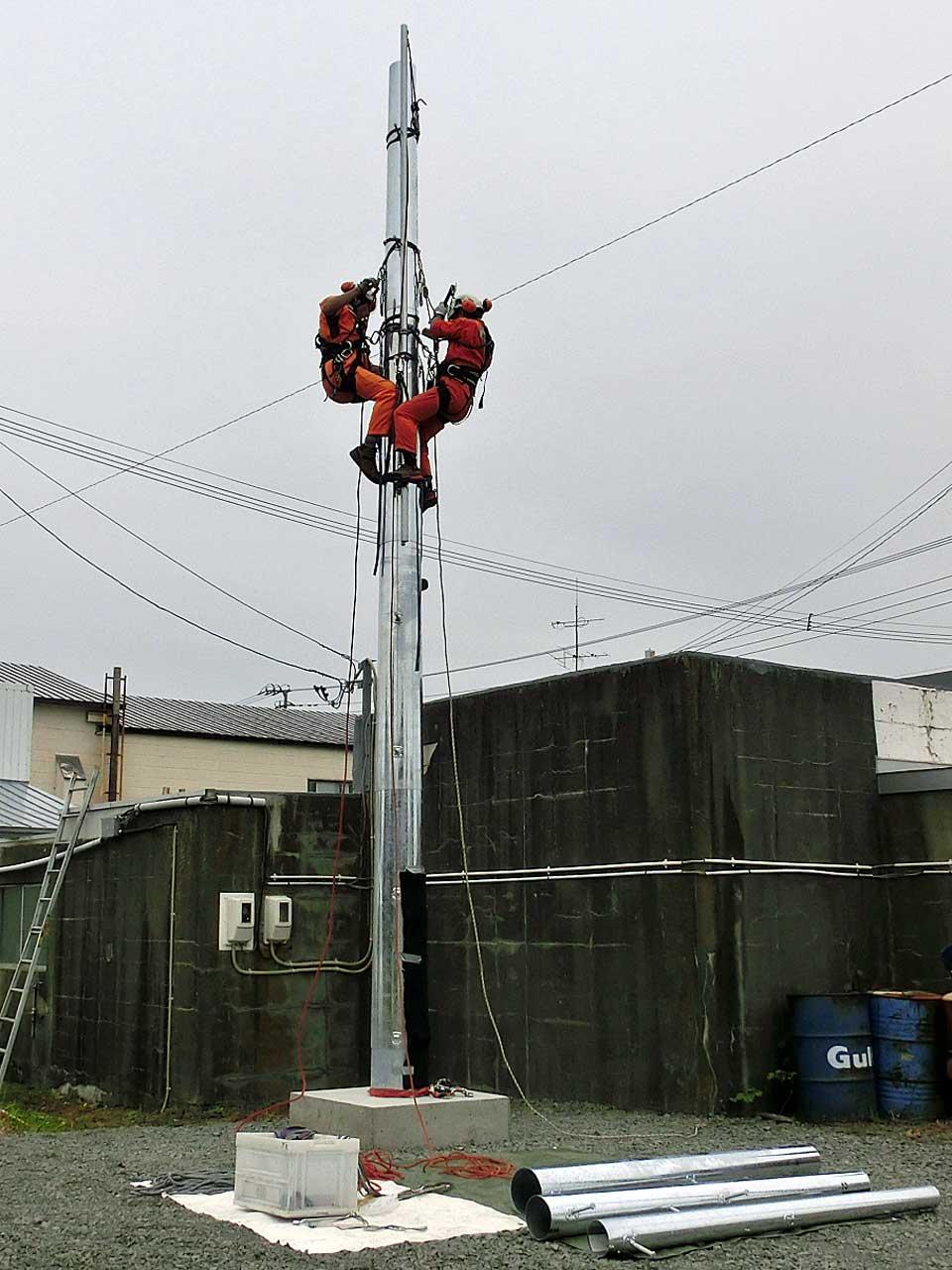 北海道厚岸郡厚岸町のパンザマスト設置工事