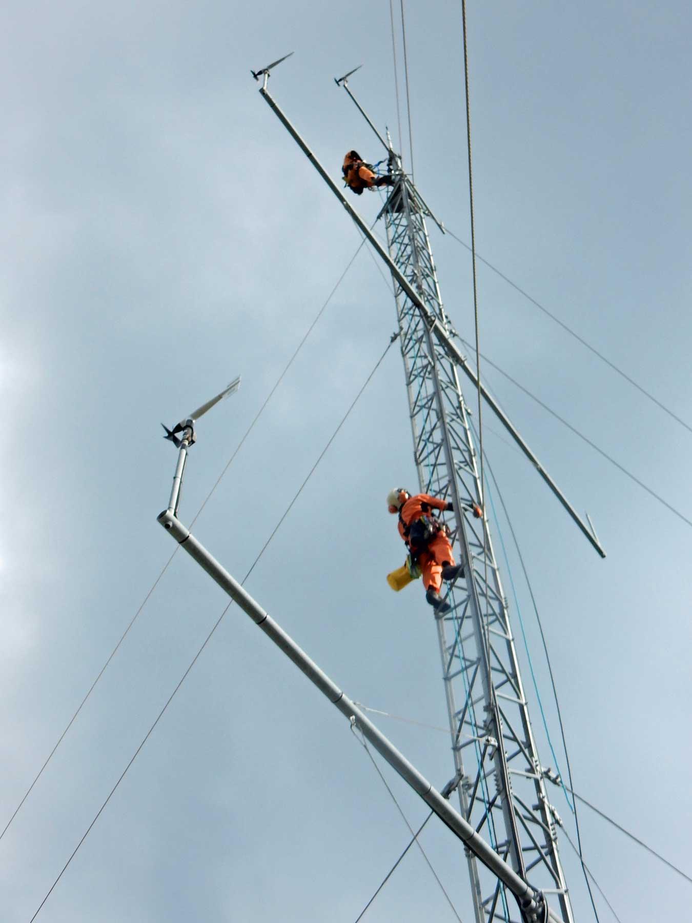 風況観測タワーの解体撤去工事