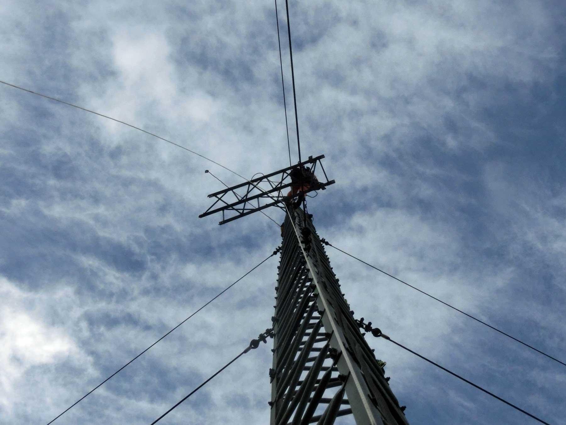 風況観測タワーの工事