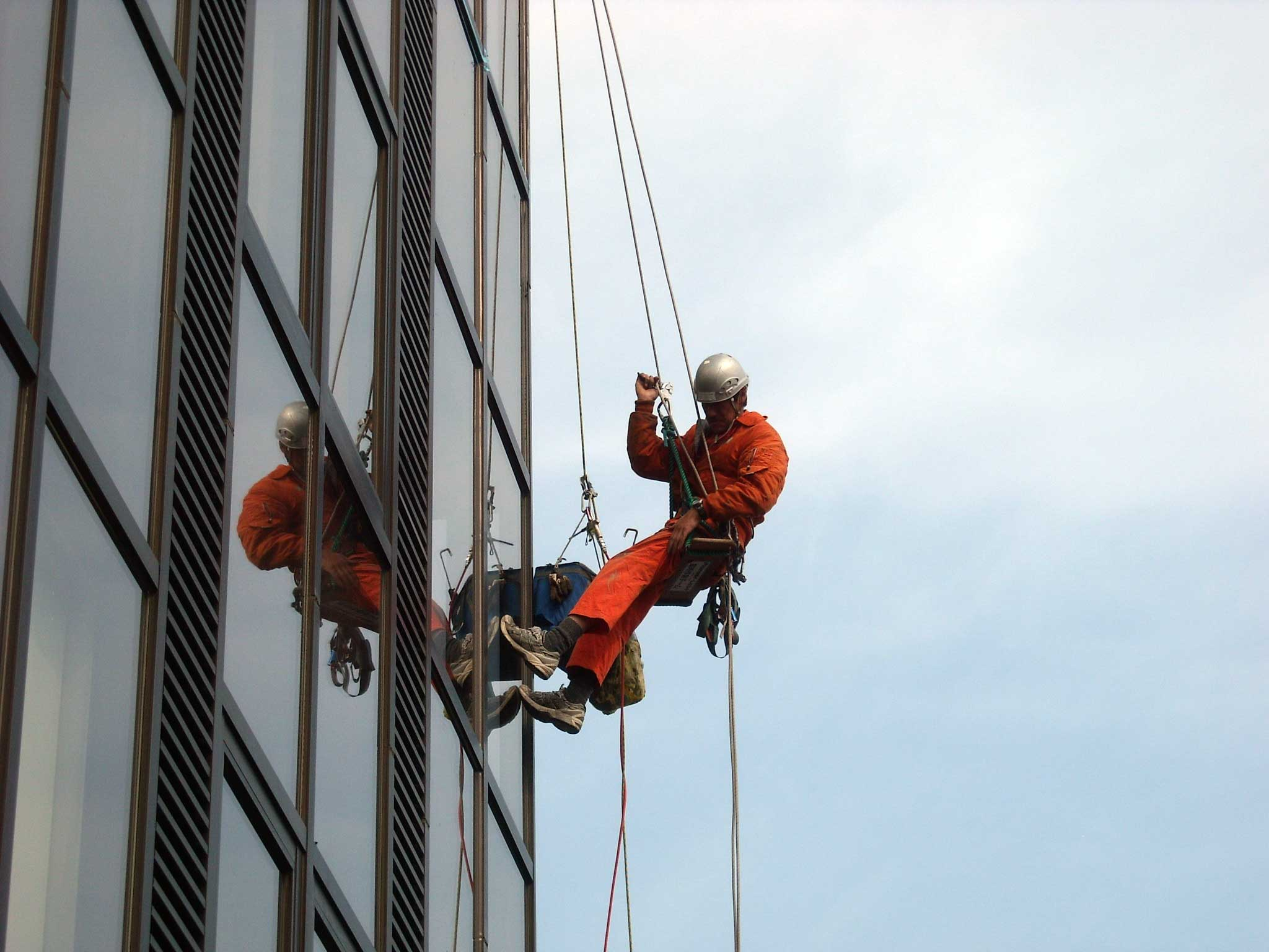 Various inspection and construction of building outer wall by rope access